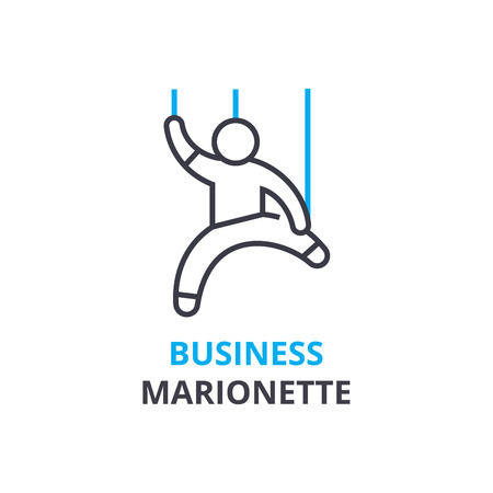 Business marionette concept , outline icon, linear sign, thin line pictogram, logo, flat illustration, vector 向量圖像