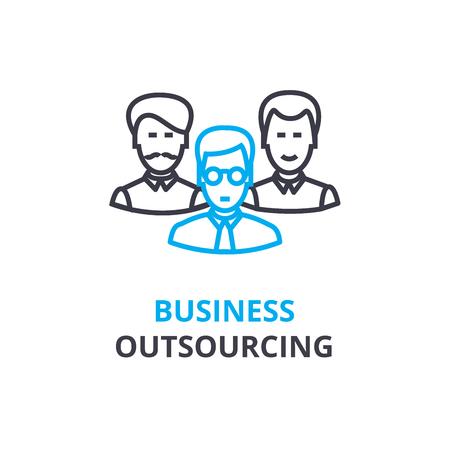 Business concept d'externalisation, icône de contour, signe linéaire, pictogramme fine ligne, logo, illustration plate, vecteur Banque d'images - 88772524