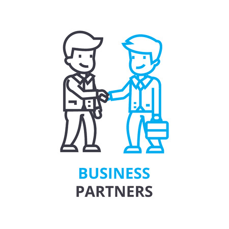 Concetto dei soci d'affari, icona del profilo, segno lineare, pittogramma della linea sottile, logo, illustrazione piana, vettore