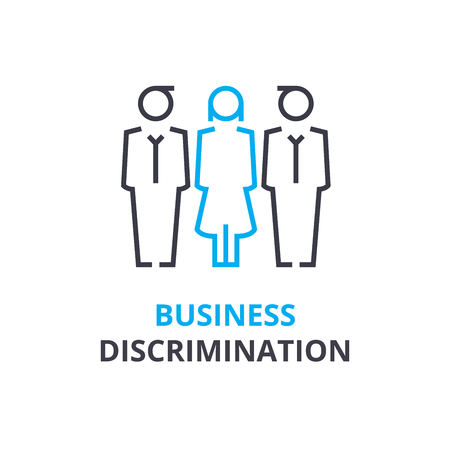 Business discrimination concept , outline icon, linear sign, thin line pictogram, logo, flat illustration, vector
