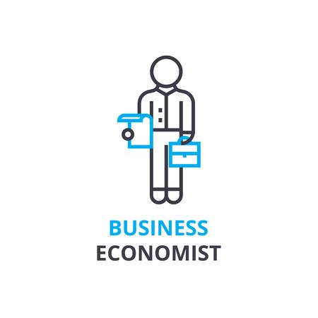 ビジネス経済学の概念、アウトラインのアイコン、線形記号、細い線ピクトグラム、ロゴ、フラットの図、ベクトル