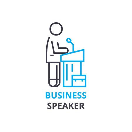 Bedrijfsprekersconcept, overzichtspictogram, lineair teken, dun lijnpictogram, embleem, vlakke illustratie, vector