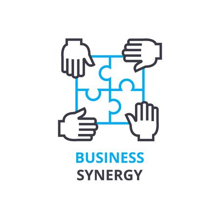 事業シナジーの概念、アウトラインのアイコン、線形記号、細い線ピクトグラム、ロゴ、フラットの図、ベクトル