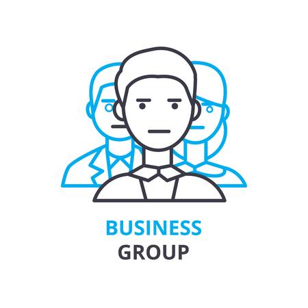 ビジネス グループのコンセプト、概要アイコン、線形記号、細線絵文字、ロゴ、フラットの図、ベクトル