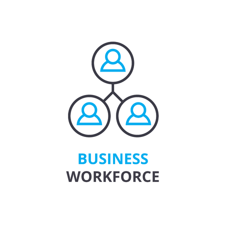 Business workforce 80 concept , outline icon, linear sign, thin line pictogram, logo, flat illustration, vector