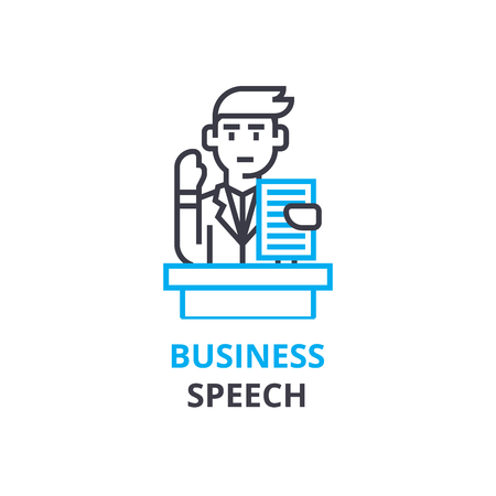Business speach concept , outline icon, linear sign, thin line pictogram, logo, flat illustration, vector