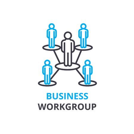 Bedrijfswerkgroepconcept, overzichtspictogram, lineair teken, dun lijnpictogram, embleem, vlakke illustratie, vector