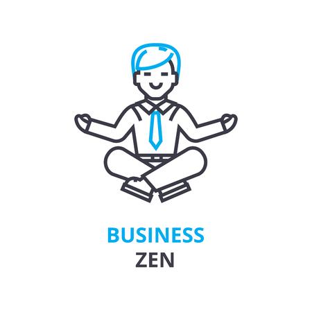 ビジネス禅の考え方、アウトラインのアイコン、線形記号、細い線ピクトグラム、ロゴ、フラットの図、ベクトル