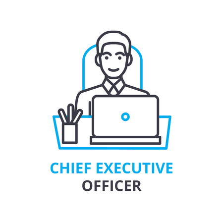 Chief executive officer concept , outline icon, linear sign, thin line pictogram, logo, flat illustration, vector Vectores