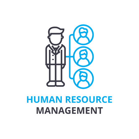 Human resource management concept , outline icon, linear sign, thin line pictogram, logo, flat illustration, vector