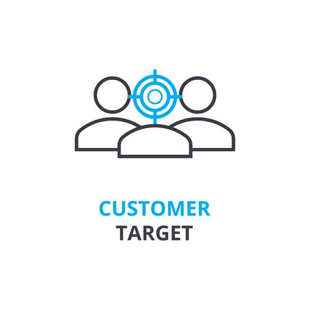 顧客ターゲット コンセプト、概要アイコン、線形記号、細い線ピクトグラム、ロゴ、フラットの図、ベクトル