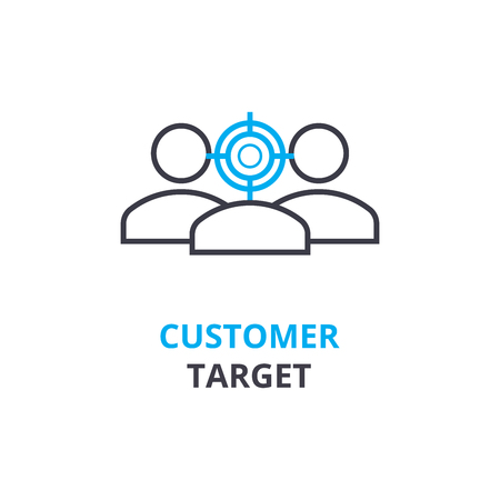 Customer target concept , outline icon, linear sign, thin line pictogram, logo, flat illustration, vector