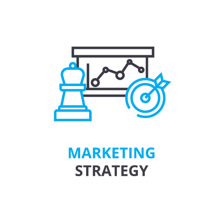 Marketing strategy concept , outline icon, linear sign, thin line pictogram, logo, flat illustration, vector