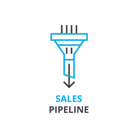 Sales pipeline concept , outline icon, linear sign, thin line pictogram, logo, flat illustration, vector