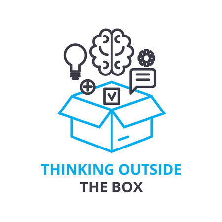 Thinking outside the box concept , outline icon, linear sign, thin line pictogram, logo, flat illustration, vector