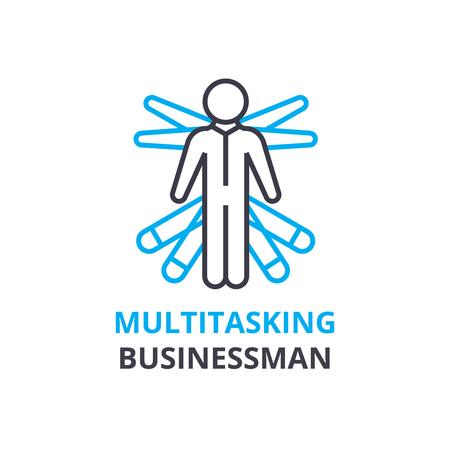 Multitasking businessman concept , outline icon, linear sign, thin line pictogram, logo, flat illustration, vector
