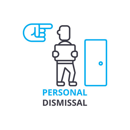 Personal dismissal concept , outline icon, linear sign, thin line pictogram, logo, flat illustration, vector