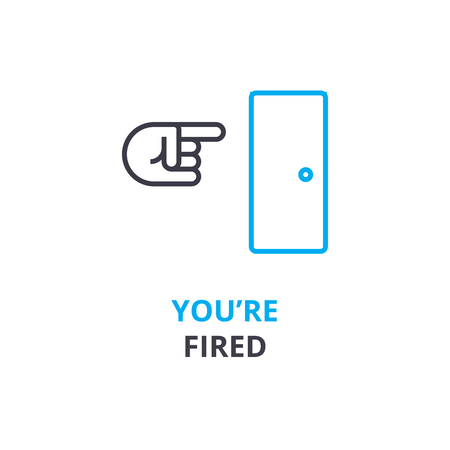 あなたは解雇の概念、アウトラインのアイコン、線形符号、細い線ピクトグラム、ロゴ、フラットの図、ベクトルです。