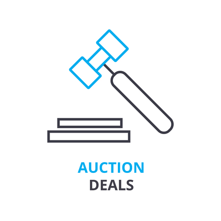 Auction deals concept outline icon illustration.