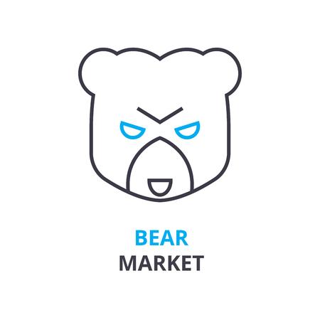 Bear market concept outline icon illustration.