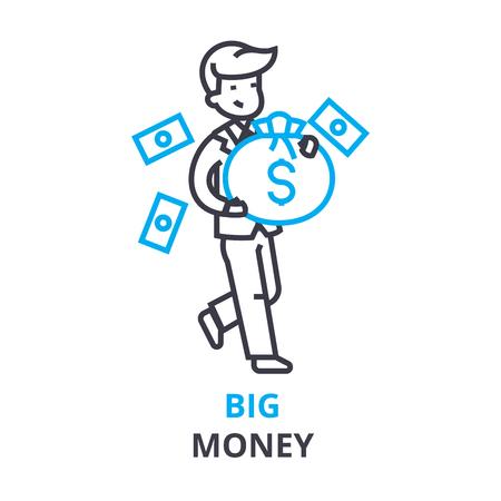 Big money concept outline icon illustration. Illustration