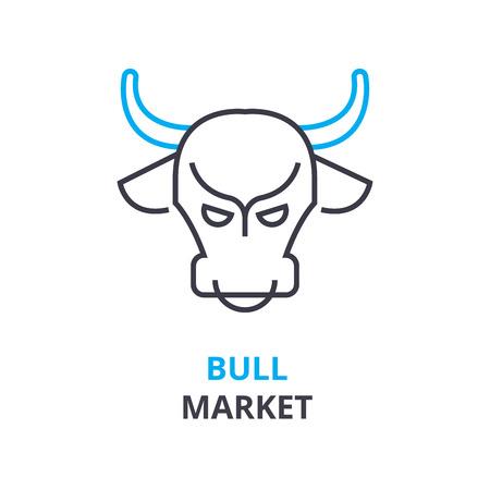 Bull market concept outline icon illustration. Иллюстрация