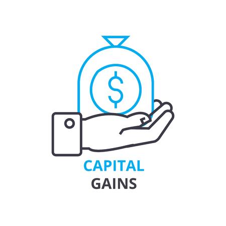 Capital gains concept outline icon illustration.
