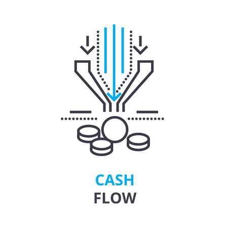 Cash flow concept outline icon illustration.