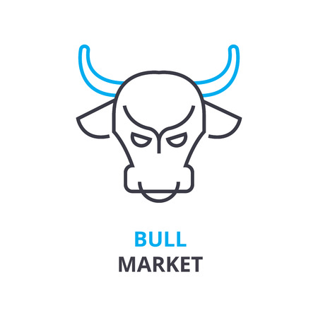 bull market concept, outline icon, linear sign, thin line pictogram, logo, flat vector, illustration