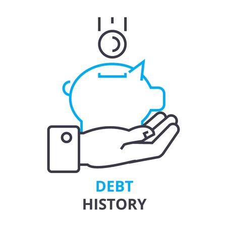 Ilustración del icono del esquema del concepto de la historia de la deuda. Foto de archivo - 88780598
