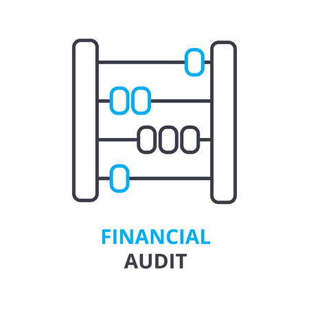 Financial audit concept outline icon illustration.