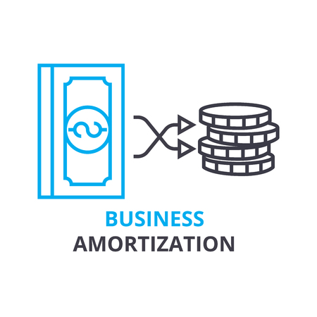 Business amortization concept outline icon illustration.