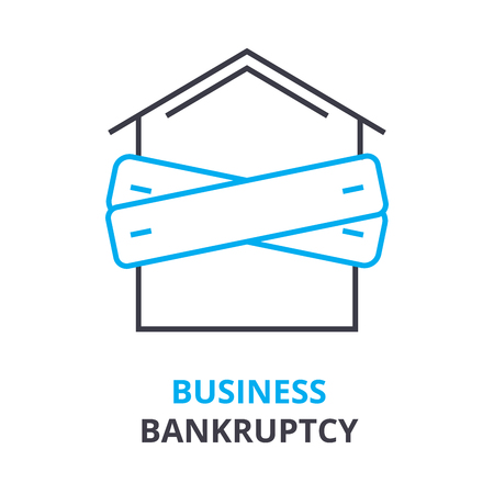 Business bankruptcy concept outline icon illustration.