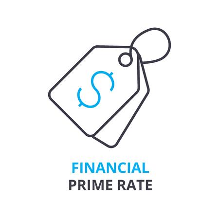 金融のプライム レート コンセプト, アウトラインのアイコン、線形符号、細い線ピクトグラム、ロゴ、フラット ベクトル, イラスト