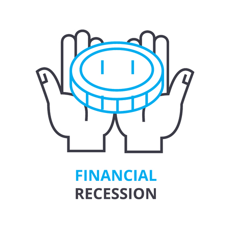 Financial recession concept outline icon illustration.