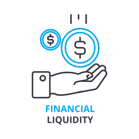 Financial liquidity concept, outline icon vector illustration. Stock Vector - 88782300