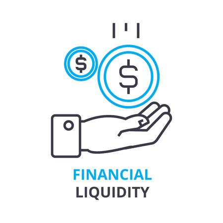 Financial liquidity concept, outline icon vector illustration. Illustration