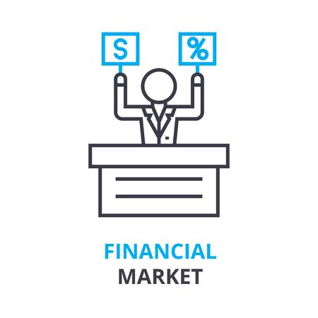 Financial market concept, outline icon vector illustration.