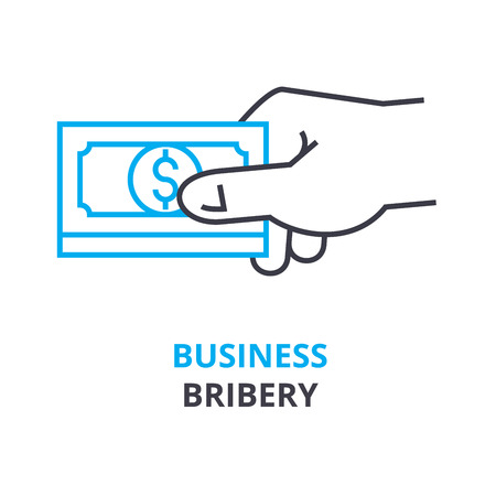 Business bribery concept, outline icon vector illustration. Illustration