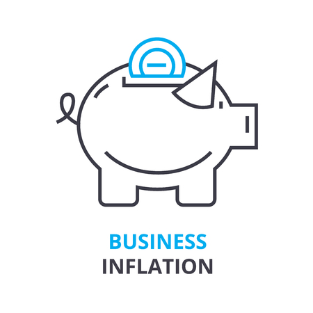 インフレのビジネス コンセプト、アウトラインのアイコン、線形符号、細線絵文字、ロゴ、フラット ベクトル図