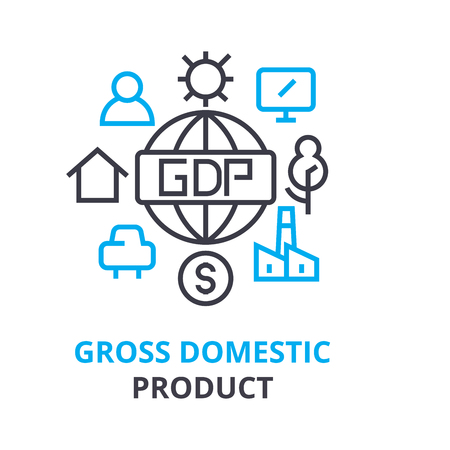 gross domestic product concept, outline icon, linear sign, thin line pictogram, logo, flat vector, illustration