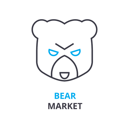 bear market concept, outline icon, linear sign, thin line pictogram, logo, flat vector, illustration
