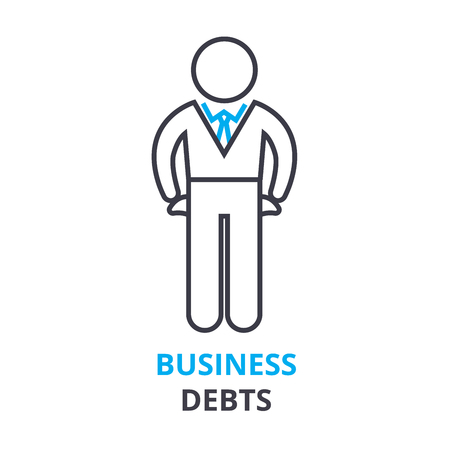 business debts concept, outline icon, linear sign, thin line pictogram, logo, flat vector, illustration