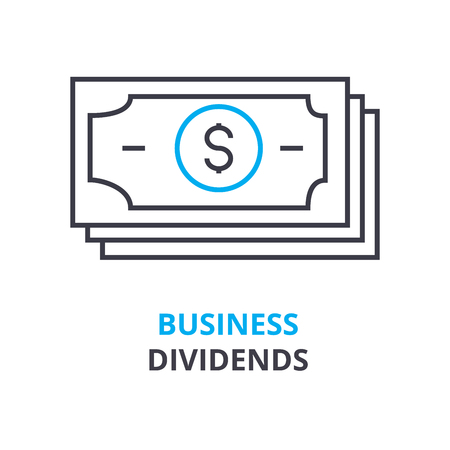 business dividends concept, outline icon, linear sign, thin line pictogram, logo, flat vector, illustration