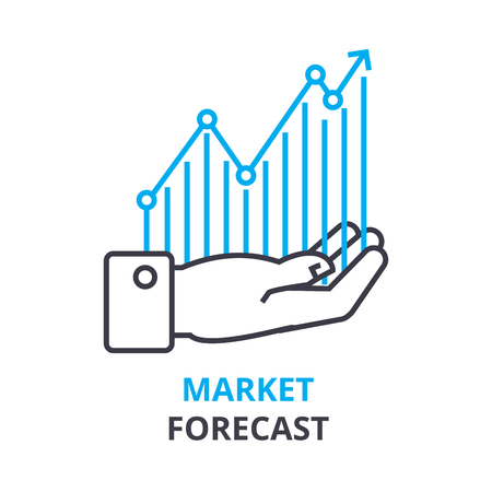 market forecast concept, outline icon, linear sign, thin line pictogram, logo, flat vector, illustration Ilustrace