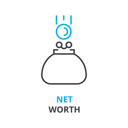 net worth concept, outline icon, linear sign, thin line pictogram, logo, flat vector, illustration