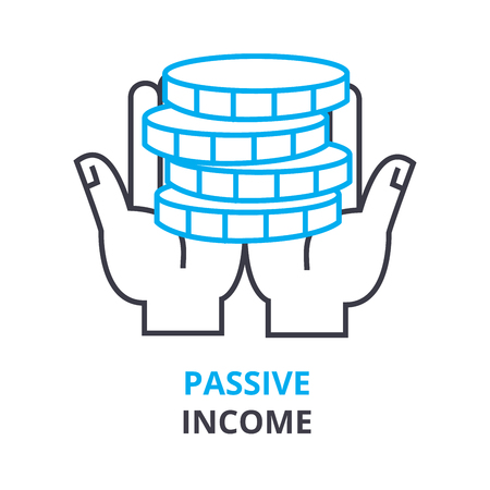 passive income: passive income concept, outline icon, linear sign, thin line pictogram, logo, flat vector, illustration Illustration