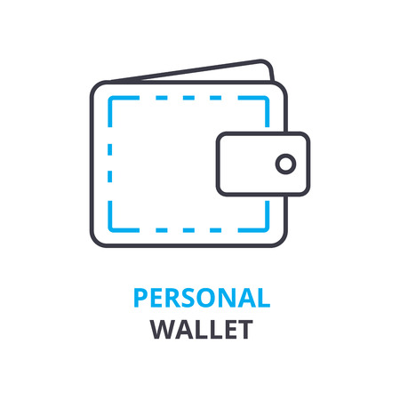 personal wallet concept, outline icon, linear sign, thin line pictogram, logo, flat vector, illustration