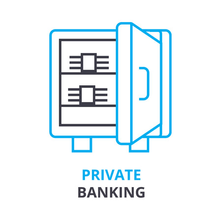 private banking  concept, outline icon, linear sign, thin line pictogram, logo, flat vector, illustration