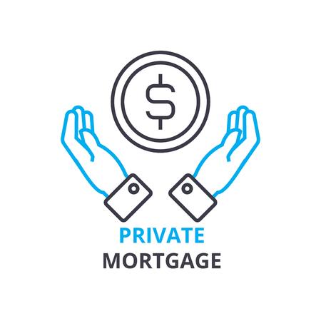 Concept de prêt hypothécaire privé, icône de contour, signe linéaire, pictogramme de ligne mince, logo, vecteur plat, illustration Banque d'images - 88844348
